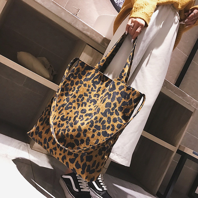 Big bag female 2018 new tide leopard print shoulder bag Korean version corduroy tote Shoulder bag Ladies Shopping Handbags
