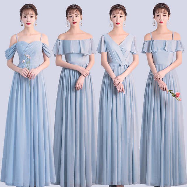 Korean Style Women Summer Party Sexy Wedding Guest Pearl Chiffon Long Blue Pink Bridesmaid Dresses Vestido Madrinha