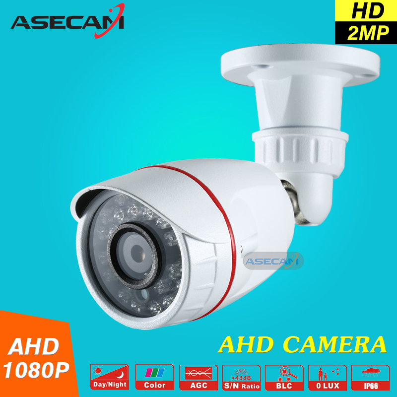 New 2MP HD 1080P AHD Security Camera CCTV White Metal Mini Bullet Video Surveillance Waterproof IR Night Vision Vandal-proof zea afs011 600tvl hd cctv surveillance camera w 36 ir led white pal
