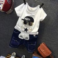 2Pcs New Summer Boy Clothes Sets Kids Clothing Gentleman Suit Cartoon Short Sleeve Shirt+Denim Shorts Children Outfit JF481