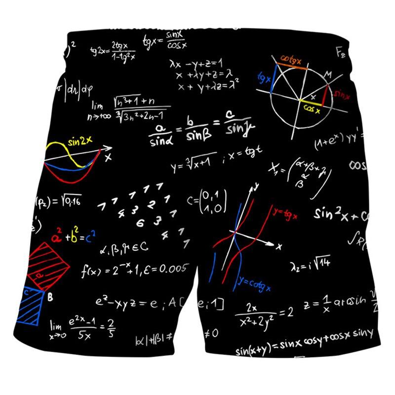 2019 Summer Mathematical Formula Men's Beach   Board     Shorts   Men Sportwear Brand Clothing Breathable Casual Black   Shorts   Male Beach