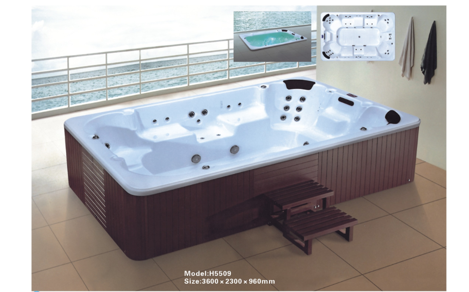 luxury whirlpool jacuzzy massage bathtubs with multi led 0262 h5509