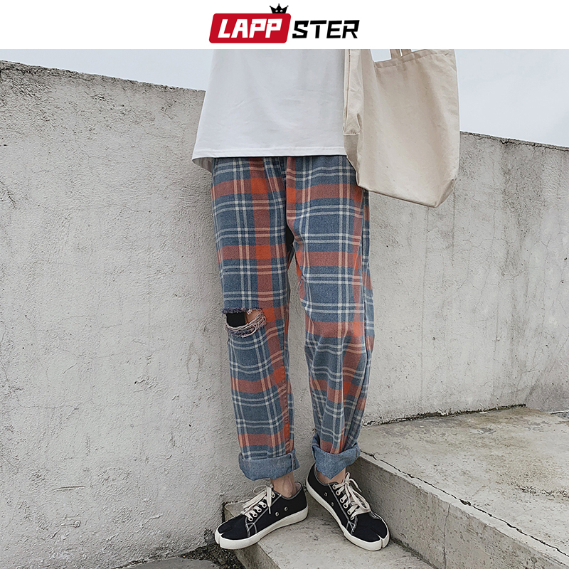 LAPPSTER Men Hole Jeans Plaid Pants 2020 Summer Baggy Distressed Jeans Mens Casual Harajuku Korean Fashion Trousers Fashion 2XL