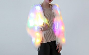 New Color LED Luminous Faux Fur Coat Lady Bar Dance Show Nightclub Clothes DJ Costumes Christmas Party Cospaly Female jacket