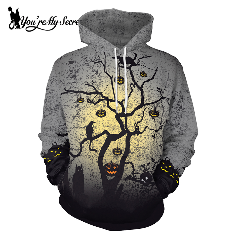 [You're My Secret] 2019 Halloween Festival Pumpkin Crow Tree Grey Sky Digital Print Unisex Long Sleeve Hooded Hoodie Sweatshirt