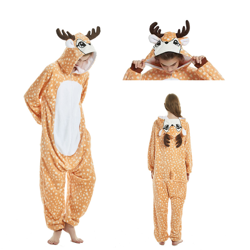 Christmas Deer Pajama Sets Cartoon Sleepwear Women Pajama Flannel Animal Stitch Panda Unicorn Tigger Pajama Kugurumi