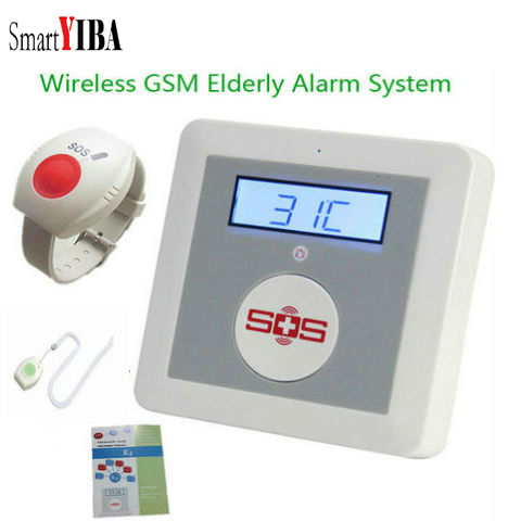 SmartYIBA Wireless Senior Elderly Healthcare Panel GSM SMS Alarm System Emergency SOS Neck Wrist Panic Button