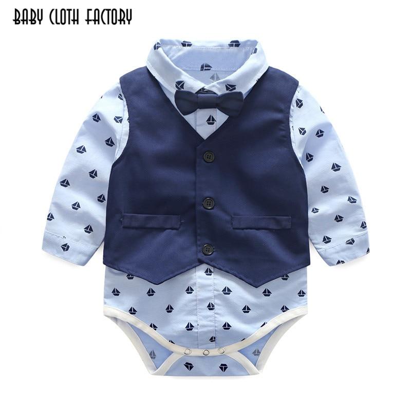 2017 fashion baby boy 3 piece suit vest+tie rompers+pants formal party clothes sets infant boy clothes gentleman suit free ship 1