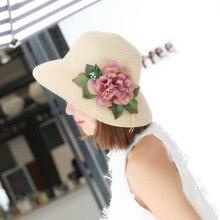 Moda Chapéu de Palha Para As Mulheres Ocasional do Verão Aba Larga Sun Cap  com Senhoras Arco-nó Flor Grande Chapéus de Praia Gra. 88469266d75