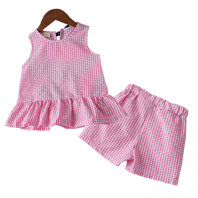 Children Summer Set For Baby Girls Sleeveless Ruffle Tops+shorts 5 6 7 years Kids Clothing Girl Casual Suit Fashion 2pcs Clothe
