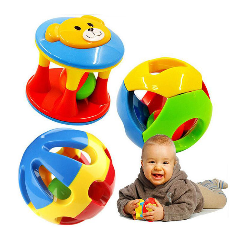 2 PCS/Set Lovely Newborn Baby Rattles Mobiles Plastic Ball Music Hand Shake Ring kids Infant Toys for Children Educational