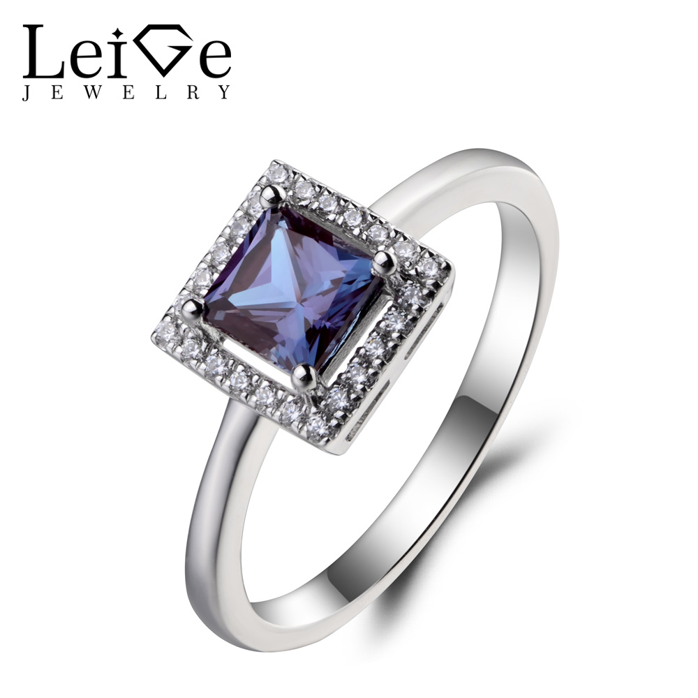 Leige Jewelry Alexandrite Ring Wedding Ring Princess Cut Gems June Birthstone Color Changing Gemstone 925 Sterling Silver Ring
