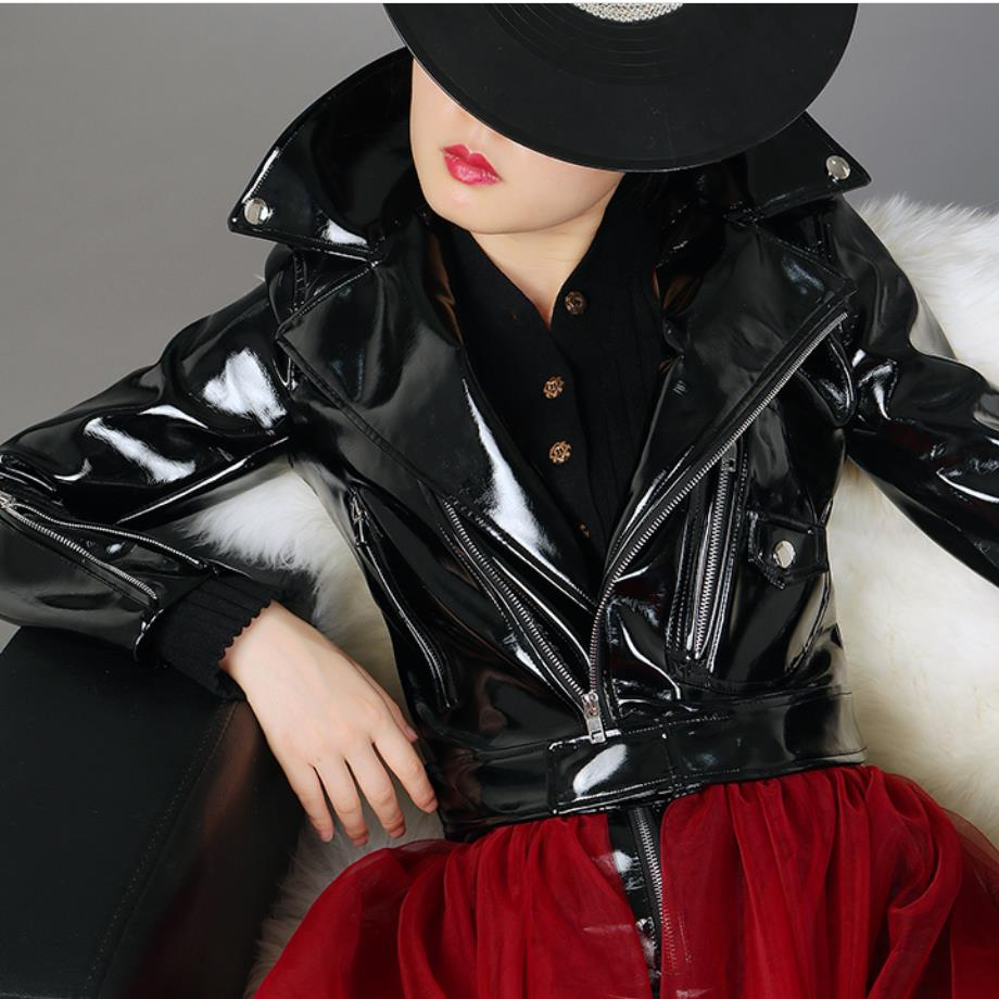 2019 BF Motorcycle Jackets Black Red JACKET Spring Autumn New Short Patent   Leather   Coats Female High-waist PU   Leather   Jacket