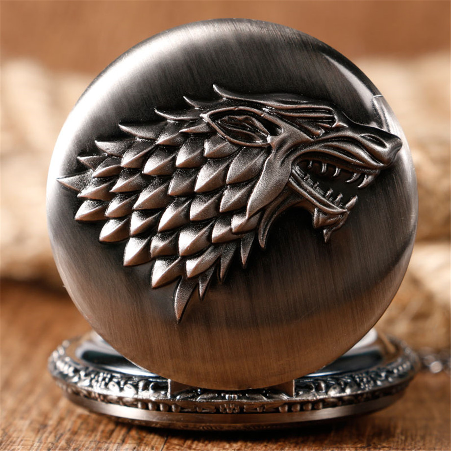 2017 Hot Necklace Watches Gray Tone Honorable Stark House Wolf Quartz Pocket Watch Pendant Game of Thrones Theme Long Chain  (11)