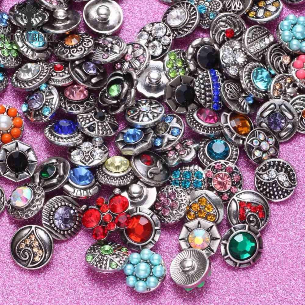 Royalbeier 20 unids/lote mezcla de estilos de Metal encantos 12mm botón Snap joyería broches pulsera DIY Snap joyería