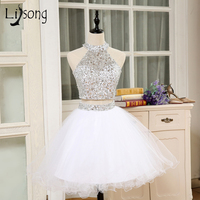 Luxury Rhinestone 2 Pieces Short Cocktail Dresses Crytsal Halter Formal Party Dress Off Shoulder Robe Cocktail Ruffles Gowns