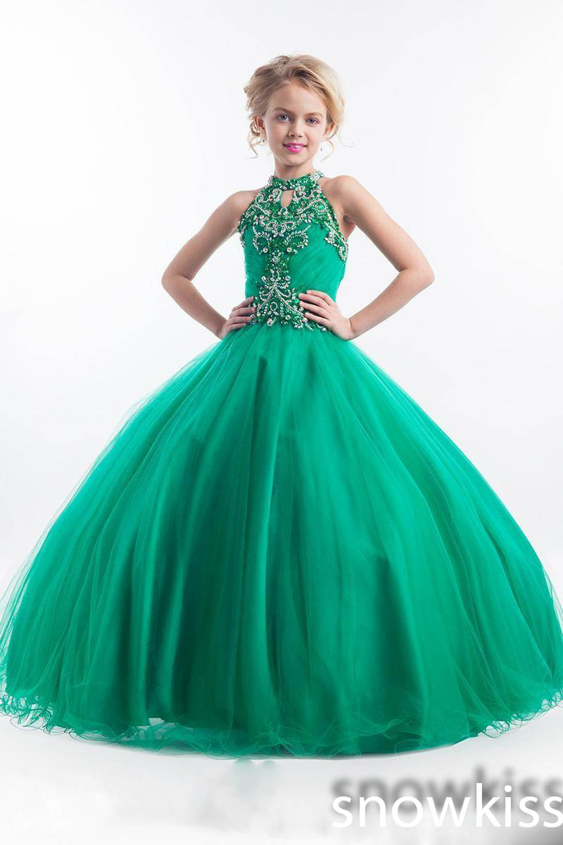 New arrival emerald green long glitz beading crystals pageant ...