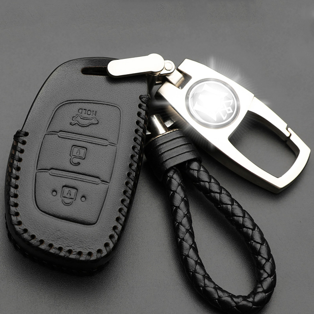 Genuine Leather Car Key Case Cover Holder Leather Metal Keychain