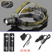 2000Lumens 3-Modes Head Lamp XM-L bead T6 LED Headlamp Headlight Camping Fishing Light +2×18650 battery+Car/AC charger