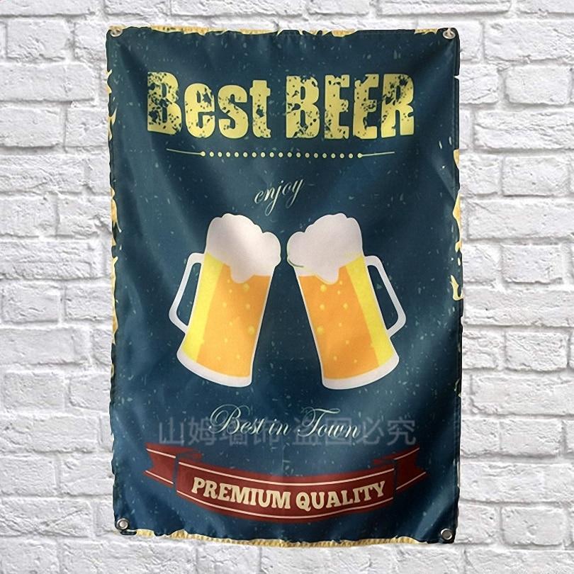 Beste Bier Wijn Poster Scrolls Bar Cafes Indoor Home Decor Banners Opknoping Art Waterdicht Doek Muurschildering Muursticker