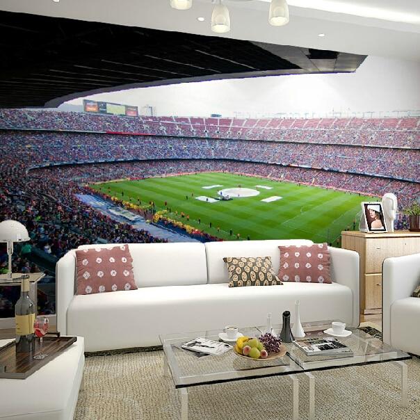 3d Papel Murals Wallpaper for Walls 3d Photo Murals of Barcelona Sports Football Stadium Soccer 3d Wall Mural for Living Room
