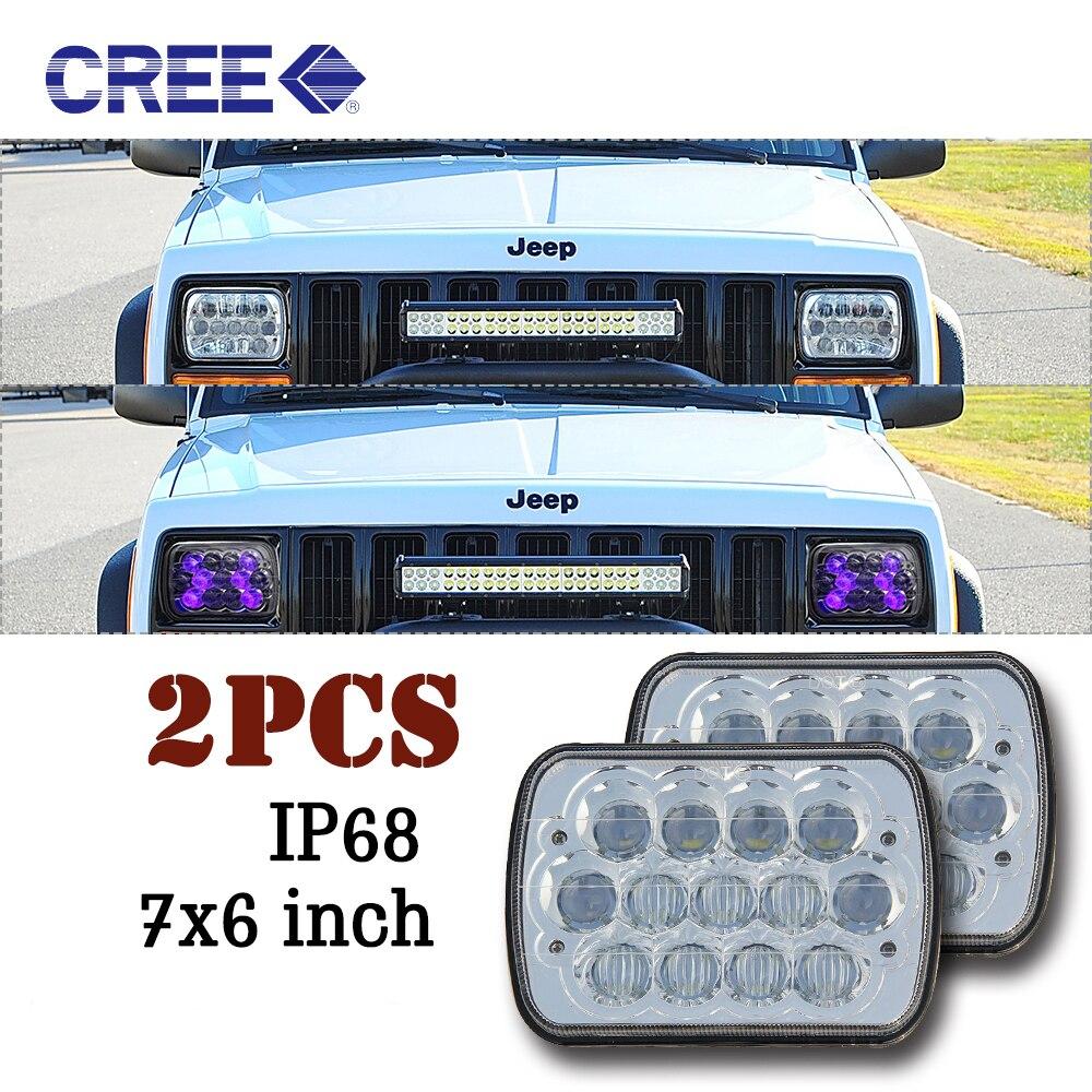 CO LIGHT Led Headlight 2PCS High Low Beam 7*6 40W 55W 4800Lm 6500K External Light for Off Road Jeep Parking Light 12V 24V