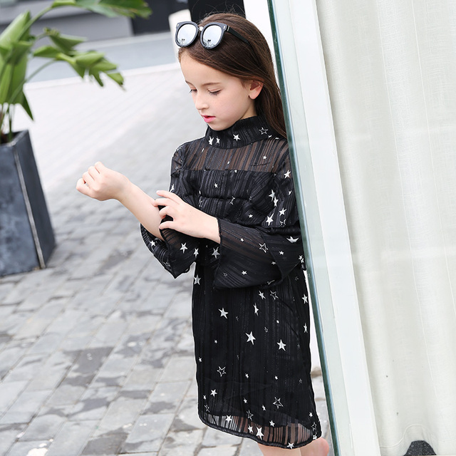 bfd466c86451 Girls Long Sleeve Dress 6 15Y Fashion Star Print Turtleneck Black ...