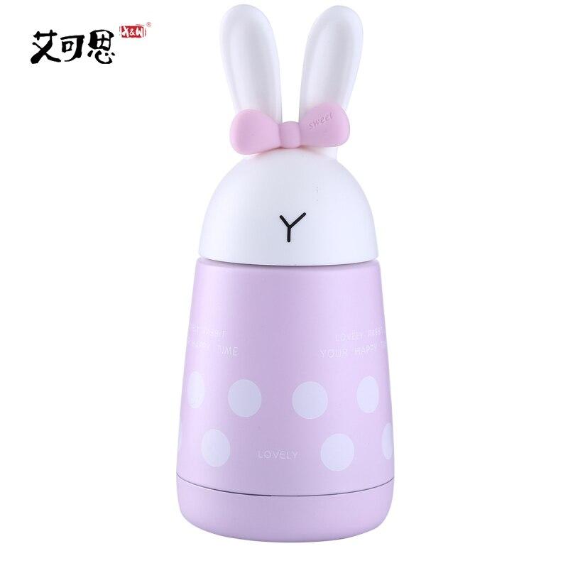 X&W 300ML Stainless Steel Mug Thermos Bottle Women Child Hot Water Leak Proof Small Pot Cute Rabbit Ears Vacuum Flasks Portable
