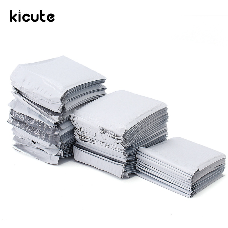 Kicute 50/30/10pcs Best Promotion White Poly Bubble Mailers PE Plastic Padded Envelope Shipping Bags Mailing Bags 180x235mm