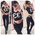 2017 Casual 2 Piece Set Black Short Sleeve Letter Print Tracksuit For Women Sexy Short Crop Top and Long Pants Set