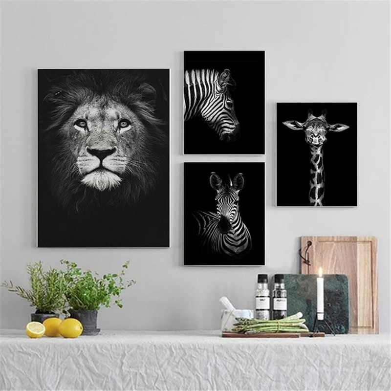 Nordic Canvas Art Painting Black White Giraffe Elephant Zebra Lion Print Animal Wall Art Poster Living Room Home Decor Painting
