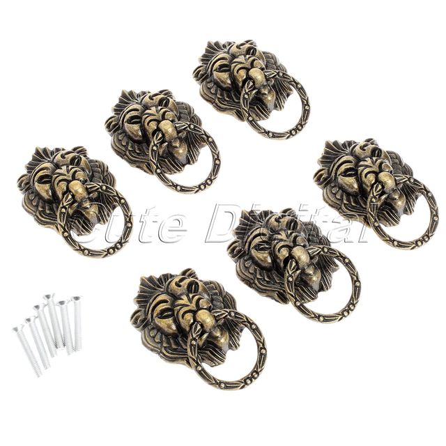 6pcs Bronze chinese door handle wardrobe handle Kitchen knobs Cabinet Hardware vintage handles Decorative Knob asas para cajones