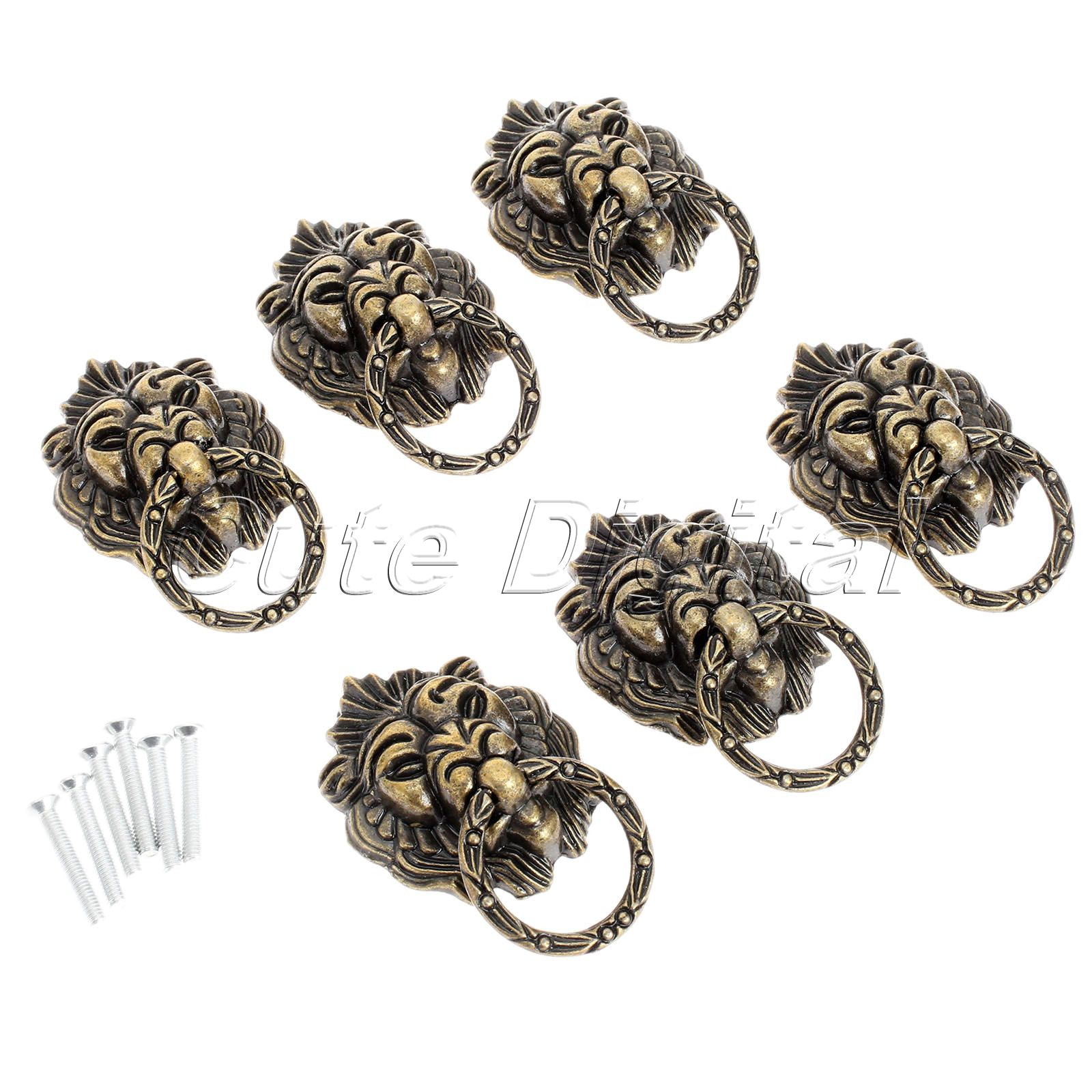 6pcs Bronze Chinese Door Handle Wardrobe Handle Kitchen Knobs Cabinet Hardware Vintage Handles Decorative Knob Asas
