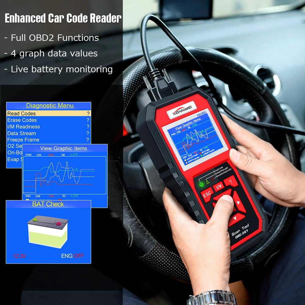 Image 5 - KONNWEI KW850 obd2 автоматический диагностический сканер полный OBD 2 OBDII код считыватель сканер автомобильный диагностический инструмент может один клик I/M готов-in Считыватели кодов и сканирующие инструменты from Автомобили и мотоциклы on AliExpress - 11.11_Double 11_Singles' Day