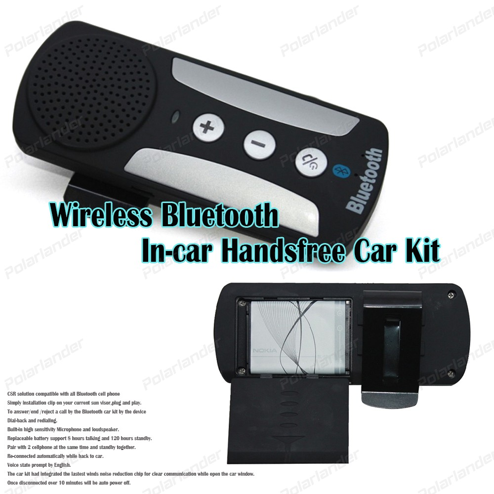 Wireless Bluetooth hands-free car Kit ABS sun visor with car charger For Smartphones MP3 Player black