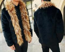 Winter faux fox fur coats mens thicken warm loose casual overcoat leather jackets and masculino chaqueta hombre black