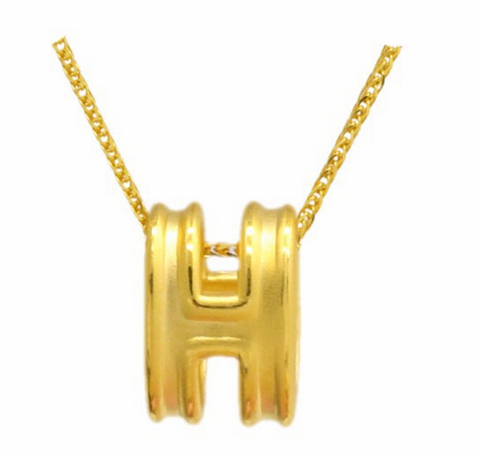Hot sale fashion Best Gift 24K Yellow Gold Pendant / 3D Letter H Pendant 1.01g yoursfs 18k rose white gold plated letter best mum heart necklace chain best mother s day gift