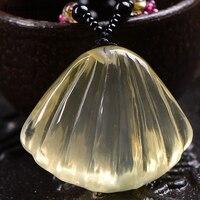 Gros Jaune Naturel Cristal Pendentifs Main Sculpté Pétoncles Shell Pendentif Collier Chanceux pour les Femmes Hommes de Bon Augure Bijoux