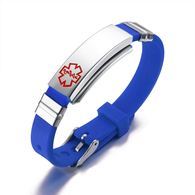 Personalized Medical Alert Id Tag Silicone Bracelet Adjule Wristbands And Fits S Kids Jewelry Free