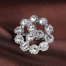 Rinhoo silver rhinestone brooch crystal Clover Flower brooches wedding accessories gift woman fashion Jewelry