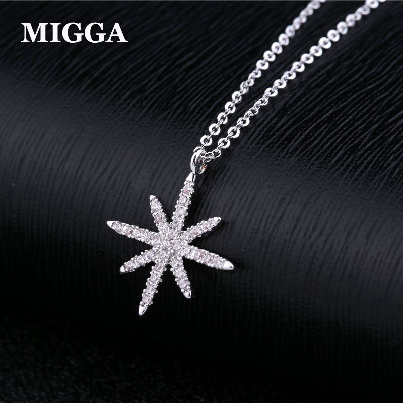 MIGGA 2018 White Gold Color Cubic Zirconia Star Pendant Necklace For Women Fashion Clavicle Chain Jewelry
