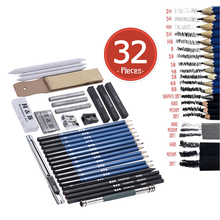 32pcs/Set Professional Drawing Sketch Pencil Kit Graphite Charcoal Sticks Erasers Sharpeners with Carrying Bag for Art Supplies 32pcs professional drawing artist kit pencils sketch charcoal art craft with carrying bag tools