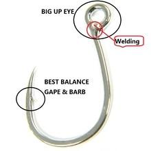 2Packs Jigging Sea Fishing Hooks Saltwater 9986 #3/0 #4/0 #6/0 Big Up Eye Jig Hooks 35kg 51kg 52kg Fishing Crank Hook Pesca