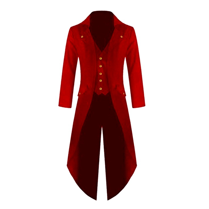 Laamei Gothic Victorian Men Suits Jackets Long Tuxedo Vintage Steampunk Retro Tailcoat Single Breasted Frock Coats Cosplay Men