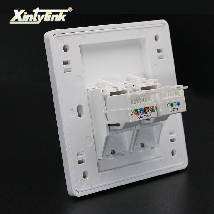 цена на xintylink rj11 rj45 Socket jack modular cat5e cat6 2 Ports Keystone Wall Faceplate toolless telephone wall socket panel 86mm