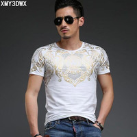 2017new Summer Men S Short Sleeve T Shirt Europe And The United States Wind Bronzing Printing