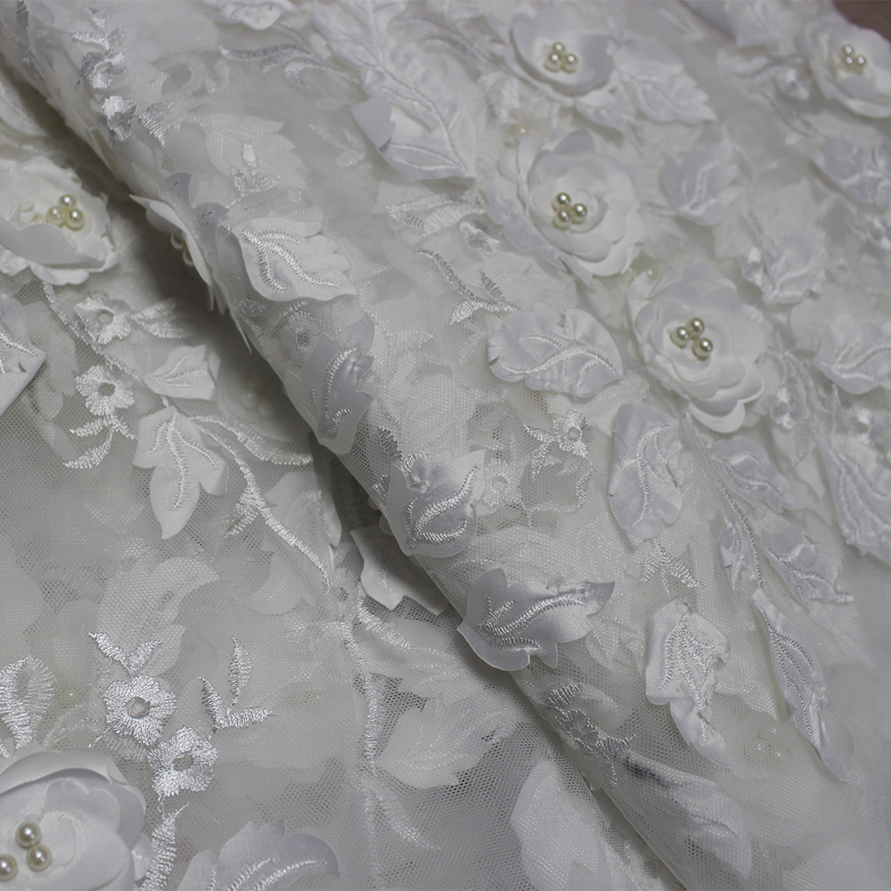 Latest Light Blue Tulle Lace Fabric High Quality Europe And America Fashion Fabric With Beads 3d Embroidery French lace Fabrics