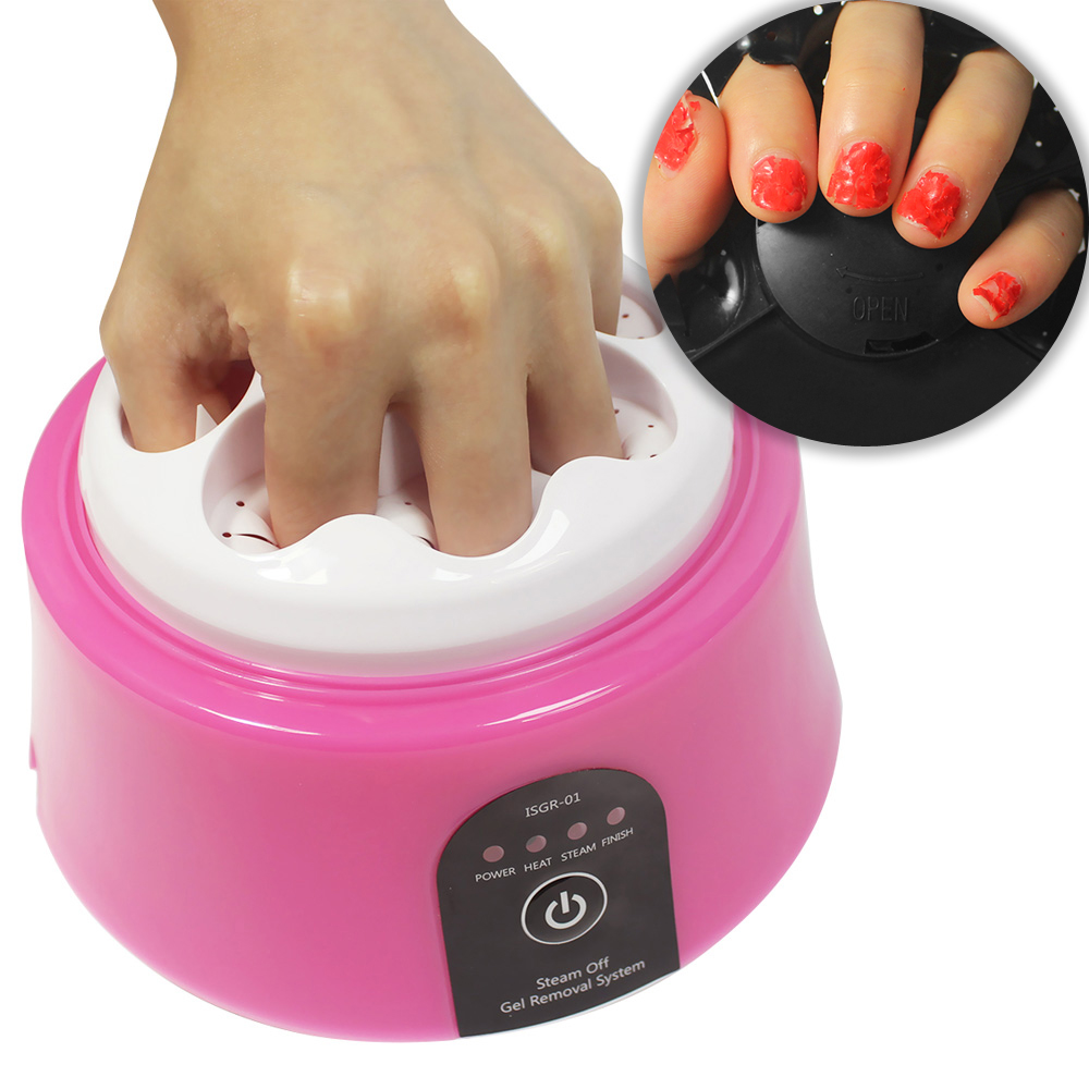 30W Nail Gel Polish Remover Machine,Steam Off Gel Removal Pink Color Nail Steamer For Home Nail Salon Beauty,EU/UK/USA/AU Plugs