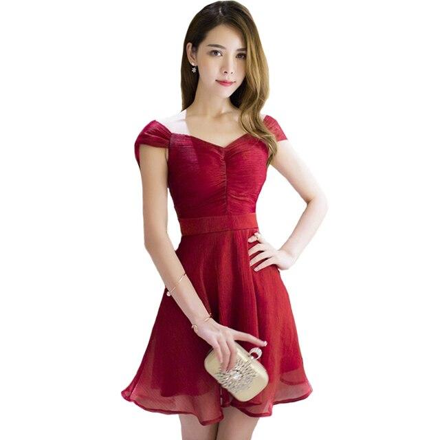 81d984b192 Kobiety Summer Fashion Sexy Krótki Rękaw Mini Czerwone Sukienki Vestido  L7526
