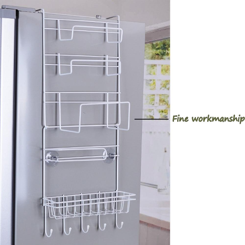 Nc 6 tier multi purpose metal kitchen cabinet refrigerator side rack door metal storage rack shelves organizer with suction cups in storage holders racks